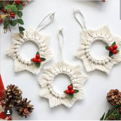 Macrame Christmas Ornaments Rustic Christmas Tree Ornaments Etsy Happy New Year Macrame Design, Macrame Art, Macrame Projects, Personalized Christmas Ornaments, Christmas Tree Ornaments, Christmas Decorations, Holiday Decor, Ornaments Ideas, Family Christmas Gifts