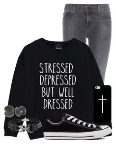 """""""Stressed, Depressed, but Well Dressed"""" by the-pastel-goth ❤ liked on Polyvore featuring J Brand, Converse, Bling Jewelry and Casetify"""