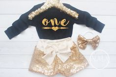 Black and Gold Birthday Baby Girl First Birthday Outfit 1st