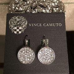 Vince Camuto Pave Earrings These are silver encrusted Crystal earrings. Just stunning in person.They are absolutely breathtaking.  Jewelry Earrings