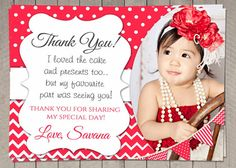 PERSONALIZED Girls Birthday Thank You Card by InvitaitonsByLittleP
