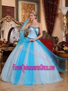 New Arrival Sweetheart Blue Tulle Full-length Quince Dresses with Beading