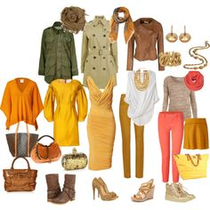 """""""True Autumn - spring wear"""" by tunafiska on Polyvore  Love everything except weird yellow dress with sleeves"""