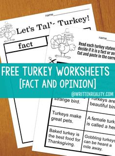 Free Turkey Worksheets fact and opinion Thanksgiving Facts, Thanksgiving Worksheets, Thanksgiving Writing, Fact And Opinion, Opinion Writing, Turkey Facts, Babel, Teaching Reading, Teaching Ideas