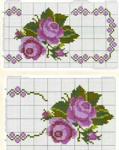 Cross Stitch Borders, Cross Stitch Rose, Cross Stitch Flowers, Cross Stitch Charts, Cross Stitch Designs, Cross Stitching, Cross Stitch Embroidery, Embroidery Patterns, Cross Stitch Patterns