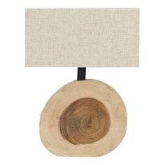 Cast a warm glow in your entryway or den with this eye-catching table lamp, showcasing a cross-sectioned wood base and box shade.   Prod...