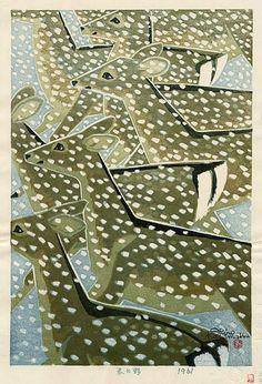 Shiro Kasamatsu - Kasugano, Nara, woodblock print, 17 x in Art And Illustration, Illustrations, Kasugano, Art Chinois, Art Asiatique, Art Japonais, Japanese Painting, Winter Art, Art Graphique