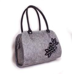 SALE Felt purse bag Felted medium purse Felt shoulder tote Felted hobo purse Women's felt bag felted flower bag Modern floral purse by volaris on Etsy