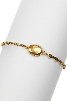Bezel Set Gold Plated Pewter Bracelet