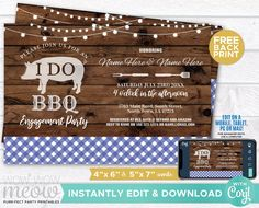I Do BBQ Invitation Couple's Shower Printable Invite Engagement Party INSTANT DOWNLOAD Check Lights Blue Plain Wood Pig Editable WIDB_026 Printing Websites, Printing Services, Online Printing, Printable Invitations, Printables, Wood Pig, I Do Bbq, Engagement Invitations, Event Page