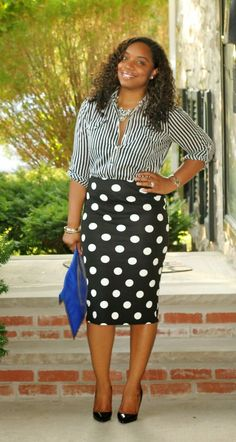 Women'S fashion › fashion for 20 year old women women's blue leather clutch, black leather pumps, black and white polka dot pencil skirt Black Fashion Bloggers, Fashion Blogger Style, Work Fashion, Skirt Fashion, Fashion Outfits, Fashion Fashion, Trendy Fashion, Skirt Outfits, Cute Outfits