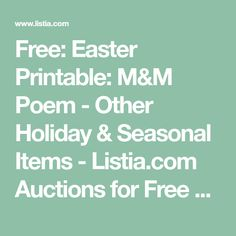 Free: Easter Printable: M&M Poem - Other Holiday & Seasonal Items - Listia.com Auctions for Free Stuff