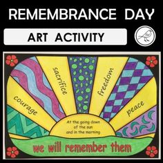 A fun art activity for your students when commemoratingVeterans DayMemorial DayRemembrance DayArmistice DayAnzac DayThis piece of art includes words from the fourth stanza from Laurence Binyon's poem For the Fallen: 'At the going down of the sun and in the morning, we will remember them'. A second... School Resources, Classroom Resources, Teaching Resources, Spelling Words, Sight Words, Poppy Template, Remembrance Day Art, Armistice Day, Student Drawing