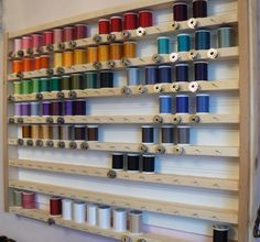 Craft Room Storage That You Can Build - Rustic Crafts & Chic Decor - Ingenious- store your bobbins with the thread! DIY Storage For Your Craft or Sewing Room - Craft Room Storage, Sewing Room Storage, My Sewing Room, Sewing Rooms, Storage Ideas, Storage Rack, Craft Rooms, Diy Storage, Shelving Ideas