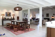 Shiva's Eclectic, Romantic Modern Ranch, columns, transition from one room to the other, ceiling,