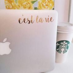 C'est La Vie Laptop Planner iPad Decal by SunshineVinyl on Etsy Macbook Accessories, Computer Accessories, Tech Accessories, Laptop Decal, Laptop Stickers, Mac Stickers, Monogram Stickers, Macbook Decal, Macbook Case