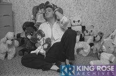 Elvis with his stuffed animal collection