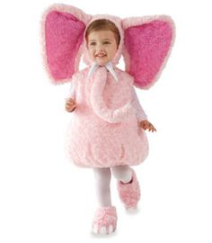 pink elephant costume - it's a jungle out there on Halloween, but who could miss your pink elephant! she'll charm in this scrumptious bodysuit with bubble shape. the coordinating hood has amazing ears, a long trunk and white tusks. includes shoecovers.