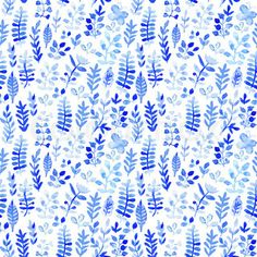 Vector watercolor texture with flowers. Floral pattern. Original floral background. Blue winter pattern. Seamless texture. Flowers watercolors. Ornament. Painting. Tileable vector pattern. | Vector | Colourbox on Colourbox