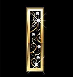 Letra I oro con adornos swirly Gold Letters, Monogram Letters, V Letter Tattoo, Stylish Alphabets, Alien Drawings, Nail Salon Decor, Letterhead Design, Free Art Prints, Digital Art Girl