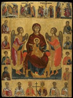 Andreas Ritzos - Virgin and Child Enthroned, Benaki Museum Benaki Museum, Russian Icons, Byzantine Art, Religious Icons, Orthodox Icons, Mother Mary, Sacred Art, Christian Faith, Little Sisters