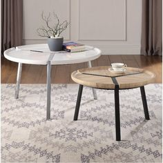 Bedroom Table, Living Room Bedroom, Living Room Furniture, Round Coffee Table Sets, Coffee Tables, Nesting End Tables, Coffee Table Wayfair, Acme Furniture, Wooden Tops