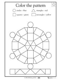 Color the Pattern Kindergarten Math Skills Worksheet (free) -- Skills: learning geometric shapes, learning shape attributes, following directions, coloring