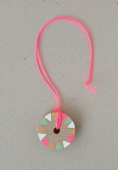 Arts and crafts party activity - diy wooden painted pinwheel necklace