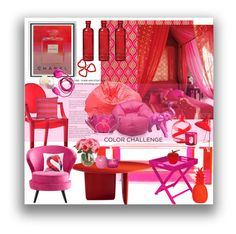 """""""Red Pink"""" by marionmeyer on Polyvore featuring interior, interiors, interior design, Zuhause, home decor, interior decorating, Ace Bayou, Cyan Design, Cultural Intrigue und Carlo Moretti"""