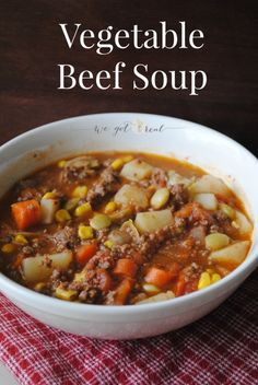 Vegetable Beef Soup.  Perfect comfort food for the cold months.  It comes together quickly and the leftovers make a great filling lunch the next day.