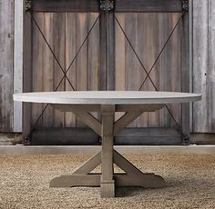 Belgian Trestle Weathered Concrete  Teak Round Dining Table for courtyard