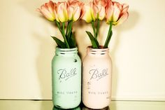 Large Ball Mason Jars - Hand Painted and Distressed Shabby Chic Vases - Aqua and Pink.