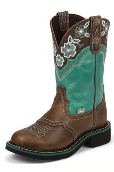 c564122f34f Cute & Comfy Justin Gypsy Boots in turquoise and brown #cowgirls #western  #weddings