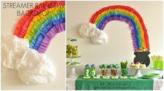 {tutorial} rainbow party streamer backdrop - Creative Juice