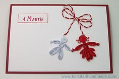 Felicitări quilling 1 Martie Martie, Quilling, Christmas Ornaments, Holiday Decor, Anime, Cards, Handmade, Bedspreads, Hand Made