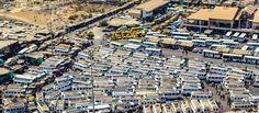 Sénegal - Dakar, bus station, aerial view