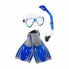 SPEEDO DIVE Adult Hydroscope Mask Snorkel Fin Set L XL Blue Shoe Size  9-13 #SPEEDO