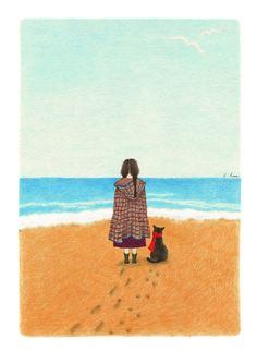 Image discovered by Naty. Find images and videos about girl, art and cat on We Heart It - the app to get lost in what you love. Cartoon Pics, Cartoon Art, Black Cat Art, Bible Art, Cat Drawing, Retro Art, Whimsical Art, Anime Art Girl, Cute Illustration
