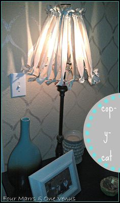 Four Marrs and One Venus: {cop-y-cat} DIY Shabby Fabric Strip Lampshade Makeover