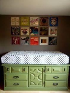 vintage dresser becomes a platform for a twin bed