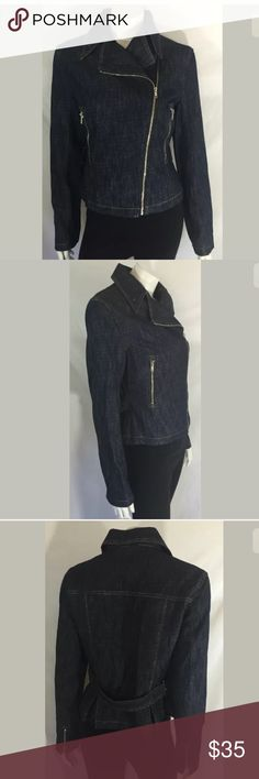 Moda International Jacket Jean Asymmetrical Moto Moda International Jacket Size: Women's size medium Color: dark blue Condition: Good (no spots/stains/tears) Measurements: Bust= 20, Length= 22 **All measurements are approximate and taken in inches while item is lying flat** Moda International Jackets & Coats Jean Jackets