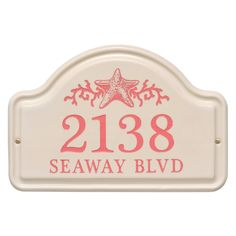 Personalized Arched Ceramic Address Plaque With Star Fish-Two Lines. Available now at the best price only at www.everythingnautical.com #Nautical #Home #Decor #Gifts