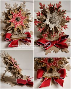 Stampin' Up! Holiday. Catalog Festive Furry Bundle in Cherry cobbler, gold, crumb cake and soft suede on a snowflake easel base.