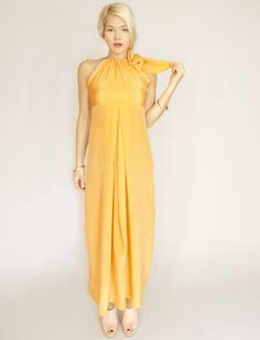 Long Tangerine Halter Dress with Bow Tie by dahlnyc on Etsy, $348.00