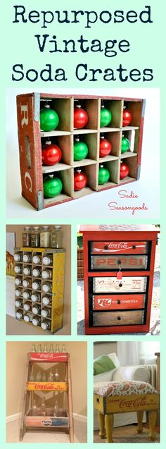 Here are tons of ideas on how to upcycle and repurpose vintage soda crates! From pet beds to advent calendars to succulent planters to furniture...I can't wait to get started on my next project! #SadieSeasongoods