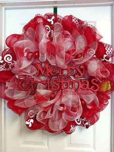 Red & White Merry Christmas Mesh Wreath