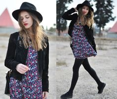 Dress, tights and black shoes instead of flats