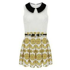 Dual-tone Belted Floral Print White Dress | pariscoming