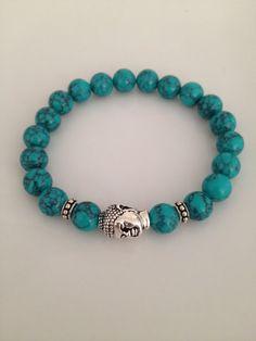 Turquoise and Silver Buddha Bracelet on Etsy, $26.00