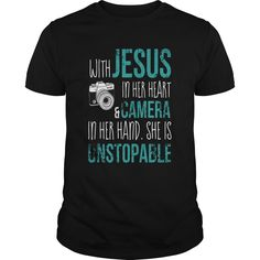 With Jesus In Her Heart & Camera In Her Hand She Is Unstopable Shirt   Don't hesitate, let's buy With Jesus In Her Heart & Camera In Her Hand She Is Unstopable Shirt now. Surely you will be satisfied because of 100% guaranted and refund money, fast shipping in the world, high quality fabric and printing. Click button bellow to see price and grab it!  >>Buy it now:  https://kuteeboutique.com/shop/with-jesus-in-her-heart-camera-in-her-hand-she-is-unstopable-shirt